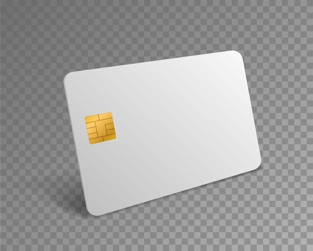 Carta di credito vuota. carta bancomat realistica bianca per i pagamenti dello shopping con mockup di chip d'oro. modello di disegno vettoriale 3d isolato in plastica di addebito bancario
