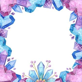 Illustrazione disegnata a mano del telaio di colore cristallino vuoto.
