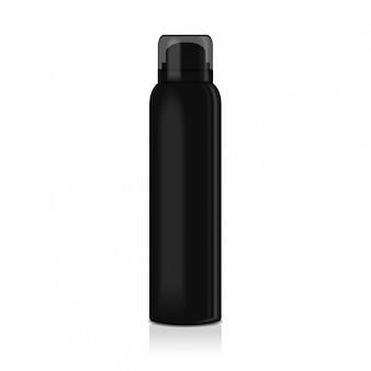 Deodorante spray bianco per donna o uomo. modello di bottiglia in metallo nero con tappo trasparente