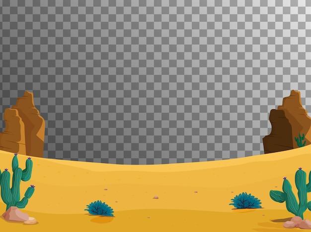 Scena del deserto vuota con trasparente