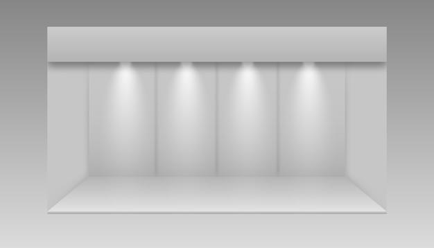 Stand espositivo in bianco. stand espositivo 3d. supporto promozionale vuoto bianco con scrivania.