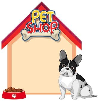 Insegne in bianco della casa del cane con il cane sveglio isolato