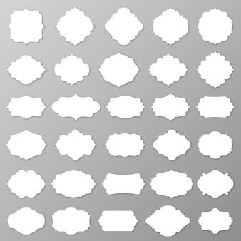 Insieme mega dell'etichetta e della struttura in bianco. illustrazione vettoriale.