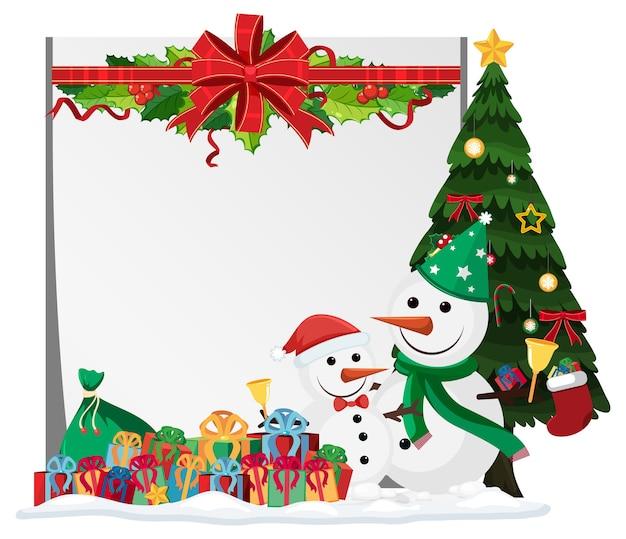 Modello di cornice vuota con decorazioni natalizie