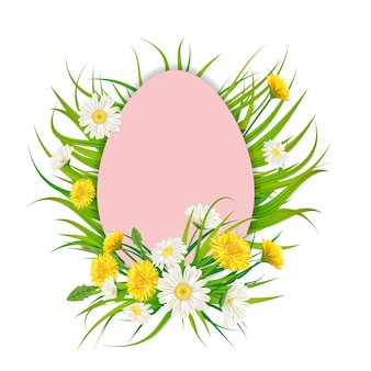 Cornice vuota con uova di pasqua e bouquet di fiori di tarassaco e margherite, camomille, erba