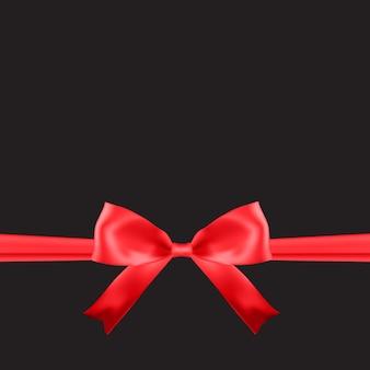 Modello di carta regalo vuoto con fiocco rosso e nastro.