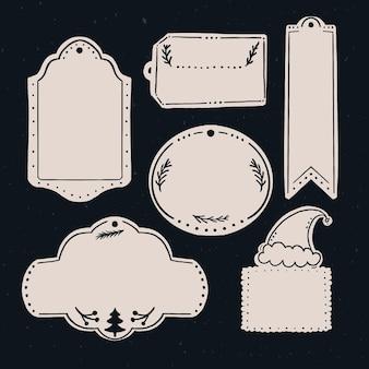 Modello di etichette regalo vuoto. diverse forme di etichette di carta per natale e altre festività.