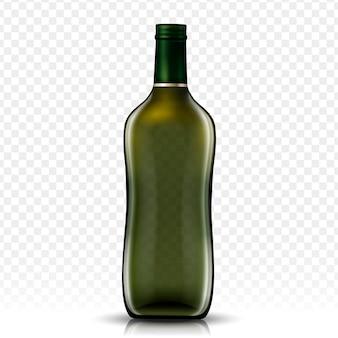 Bottiglia di vetro vuota, sfondo trasparente isolato
