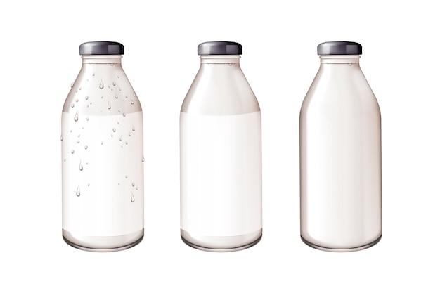 Mockup di bottiglia di vetro vuota nell'illustrazione su priorità bassa bianca