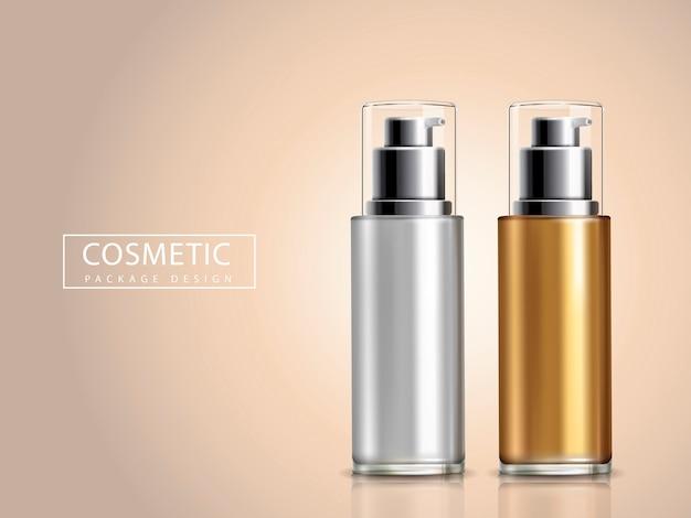 Modelli di flaconi cosmetici in oro e argento vuoti, illustrazione 3d
