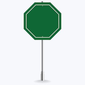 Segnale stradale verde in bianco o illustrazione vuota di traffico