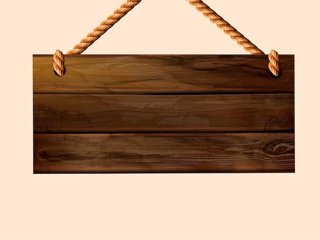 Cartello in legno appeso in bianco con spazio per copia in illustrazione 3d
