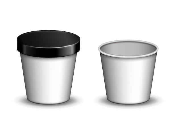 Modelli di tazza gelato vuoto per uso, sfondo bianco