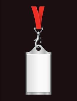 Badge di identificazione vuoto. portanome in plastica, badge identificativo del pass. carta, etichetta dell'ufficio personale o badge vuoto sul modello realistico del cordino.