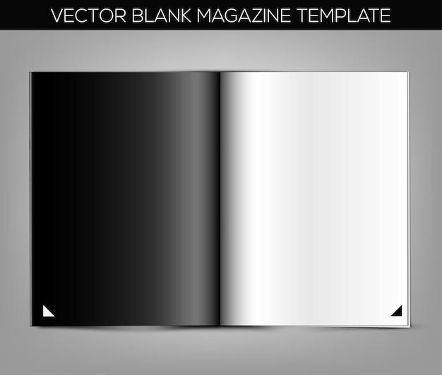 Modello di rivista vuota con pagina in bianco e nero su sfondo grigio.