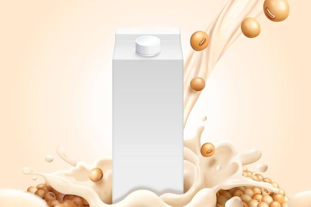 Cartone di latte vuoto con semi di soia e latte di soia in stile 3d