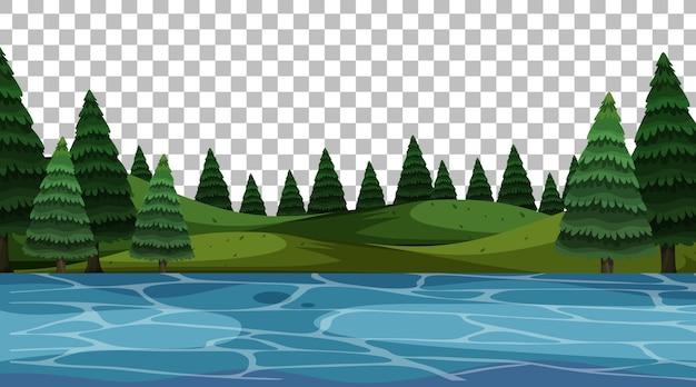 Paesaggio di scena del parco naturale vuoto su sfondo trasparente