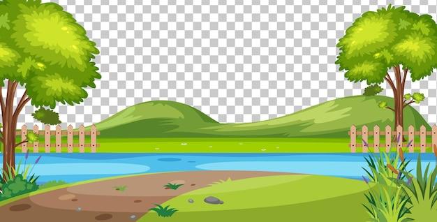 Scena del parco naturale vuoto su sfondo trasparente