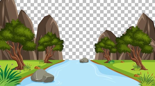 Scena del parco naturale vuoto con paesaggio fluviale su sfondo trasparente