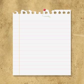 Carta per appunti vuota su sfondo di cartone,