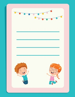 Carte per appunti in bianco per istruzione dei bambini