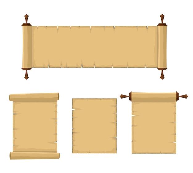 Vecchi rotoli in bianco del set di carta di papiro