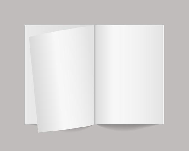 Rivista, libro, taccuino, opuscolo, opuscolo o catalogo aperti in bianco. realistico modello di rivista o catalogo. modello di progettazione. illustrazione realistica.