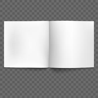 Rivista aperta in bianco su sfondo trasparente. e include anche