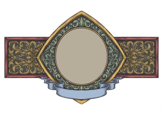 Cornice ornamentale vuota in stile vintage disegnato a mano