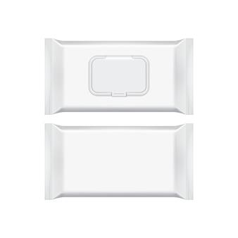 Modello d'imballaggio in bianco isolato su bianco.
