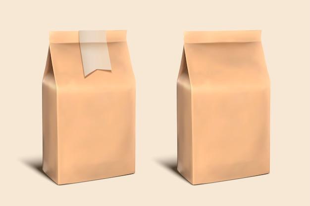 Modello di sacchetto di carta bianco, carta artigianale con spazio per usi nell'illustrazione