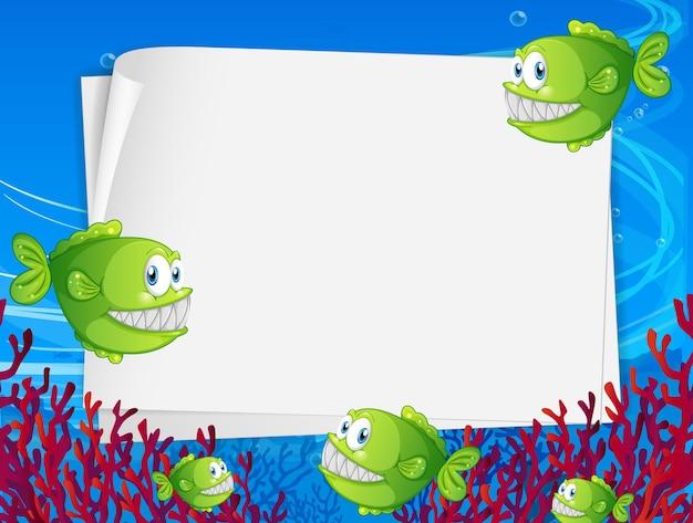 Bandiera di carta bianca con rana pescatrice e elementi della natura sottomarina sullo sfondo subacqueo