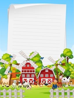 Carta bianca in fattoria biologica con set di fattoria degli animali