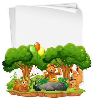 Foglio di carta bianco con molti orsi in tema di festa