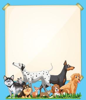 Carta bianca con gruppo di cani carino impostato su sfondo blu