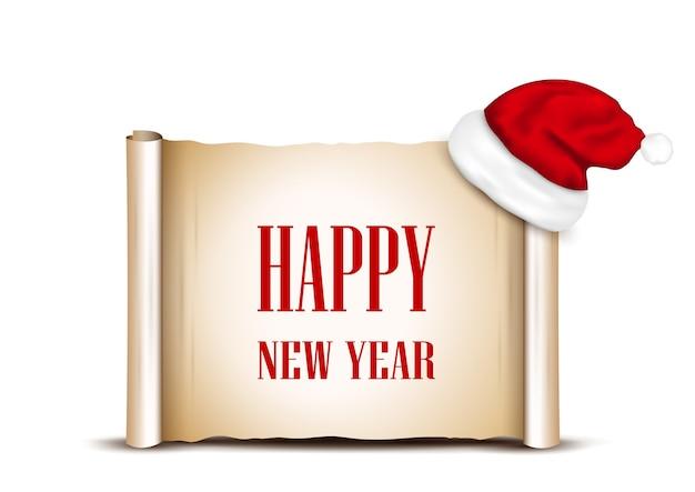 Carta bianca con cappello da babbo natale e auguri di buon anno.