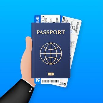 Modello di passaporto vuoto e biglietti aerei. passaporto internazionale con una pagina di dati personali di esempio. illustrazione.