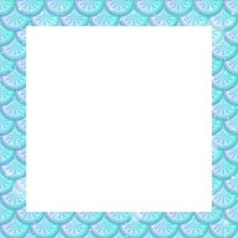 Modello di cornice di squame di pesce blu pastello vuoto