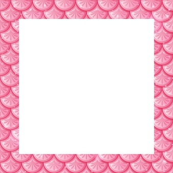 Modello di cornice di squame di pesce rosa pastello vuoto