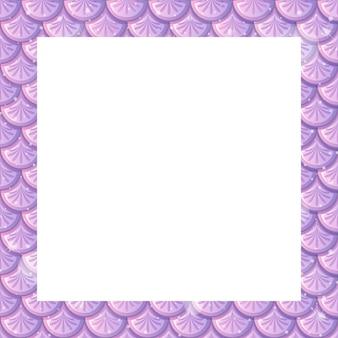 Modello di cornice di squame di pesce viola pastello vuoto
