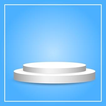 Podio circolare bianco con piedistallo vuoto su sfondo blu sfumato per l'esposizione del prodotto
