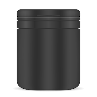 Bottiglia vuota pillola. supplemento di medicina vaso di plastica nero