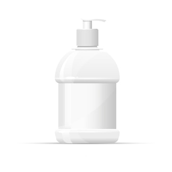 Bottiglia di plastica vuota con dispenser per sapone liquido.