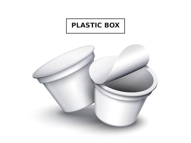 Scatola di plastica vuota, modello di contenitore per alimenti bianco due per design isolato su bianco, illustrazione 3d