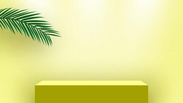 Podio vuoto con foglie di palma piedistallo cubo prodotti piattaforma di visualizzazione fase di rendering 3d