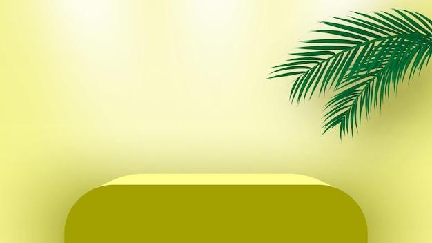 Podio vuoto con foglie di palma piedistallo prodotti piattaforma di visualizzazione fase di rendering 3d