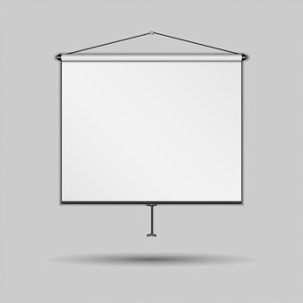 Schermata di presentazione vuota, lavagna bianca, su sfondo grigio,