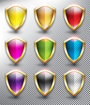 Schermi di protezione in bianco con telaio metallico, dorato. collezione di icone di scudo. isolato sulla superficie bianca.