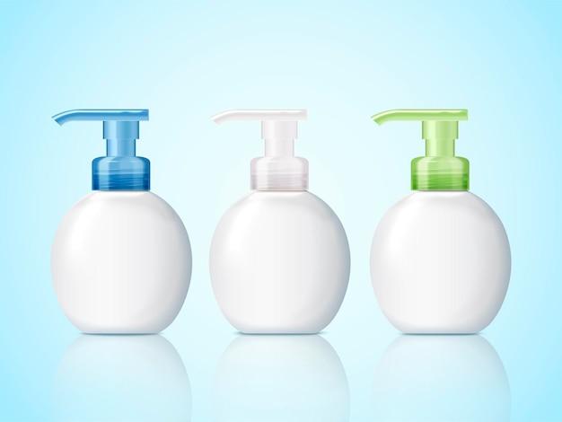 Set di flaconi per pompe vuote, mockup di contenitori cosmetici con spazio vuoto