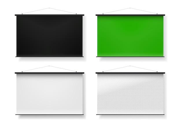 Insieme realistico in bianco dello schermo di proiezione portatile.
